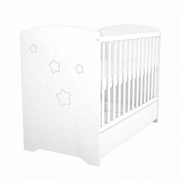 Zárt végű ágyneműtartós gyermekágy ( kiságy ) Fehér