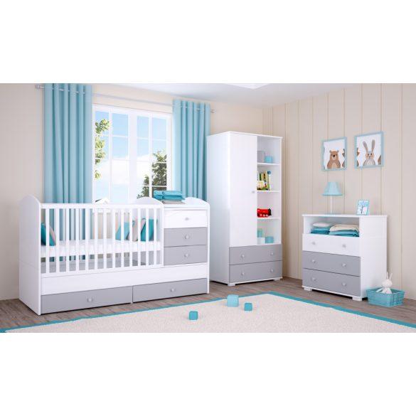 Zárt végű ágyneműtartós gyermekágy ( kiságy ) Ezüst-Fehér