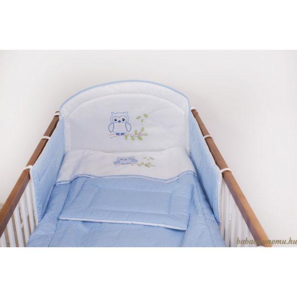 SZEKO 3 részes hímzett ágynemű Kék pöttyös Lulu bagoly