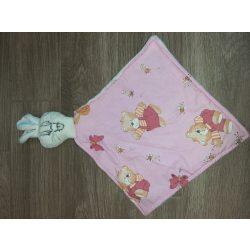 Szundi kendő-nyuszifejes/rózsaszín maci mintával