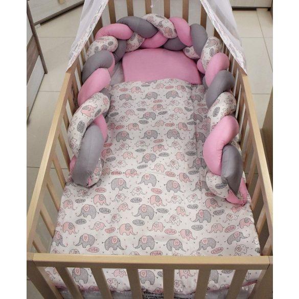 Bunny Baby 3 részes ágyneműgarnitúra fonott fejvédővel rózsaszín