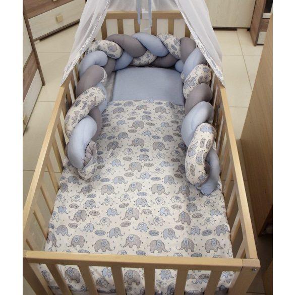 Bunny Baby 3 részes ágyneműgarnitúra fonott fejvédővel kék