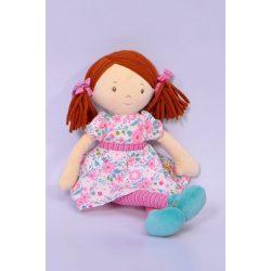 Katy – sötétbarna haj/rózsaszín és tenger zöld ruhában, természetes pamutból