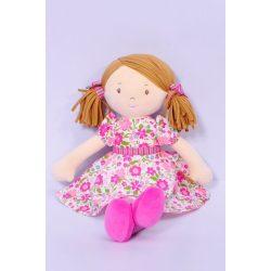 Fran – világos barna haj/sötét rózsaszín és zöld ruhában, természetes pamutból