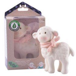 Lila a bárány gumi játék – rózsaszín sállal, természetes gumiból