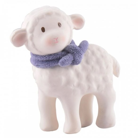 Lucas bárány gumi játék – kék sállal, természetes gumiból