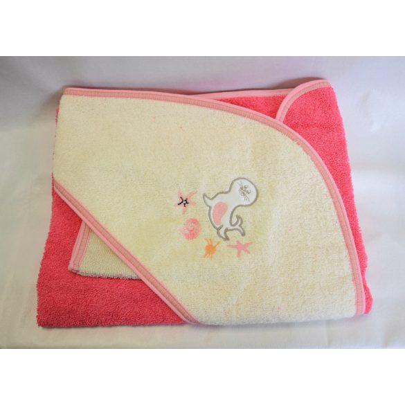 Bunny baby hímzett frottír kifogó kesztyűvel 80*80 rózsaszín