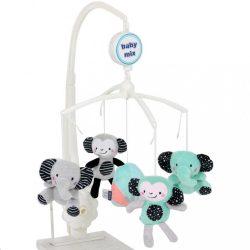 Baby Mix plüss zenélő körforgó- elefánt