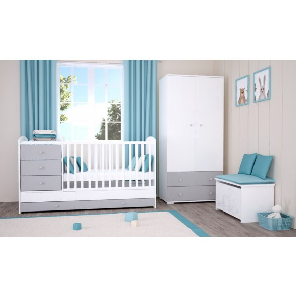 Maxi Kombi 5 fiókos gyermekágy ( Kombiágy ) Ezüst-Fehér