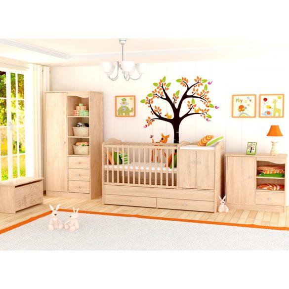 Átalakítható ágyneműtartós gyermekágy ( kiságy ) Borostyán