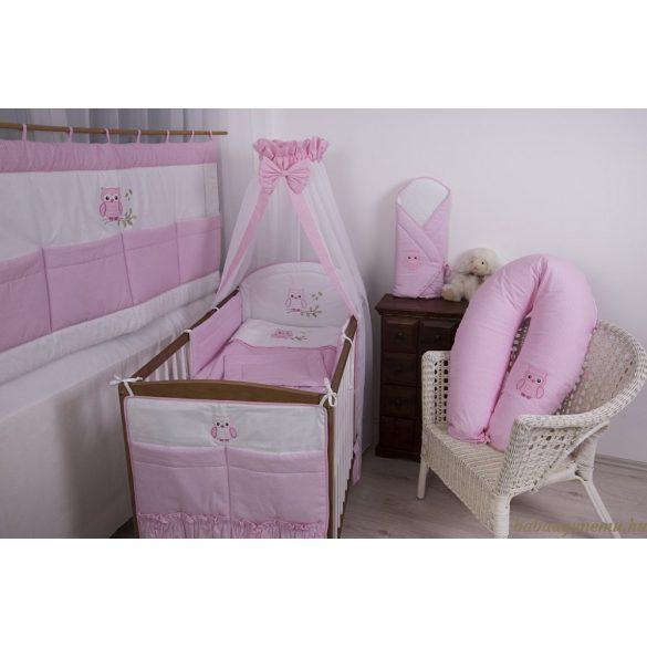 SZEKO 3 részes hímzett ágynemű Rózsaszín pöttyös Lulu bagoly