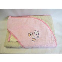 Bunny baby hímzett frottír kifogó kesztyűvel 100*100 rózsaszín-krém