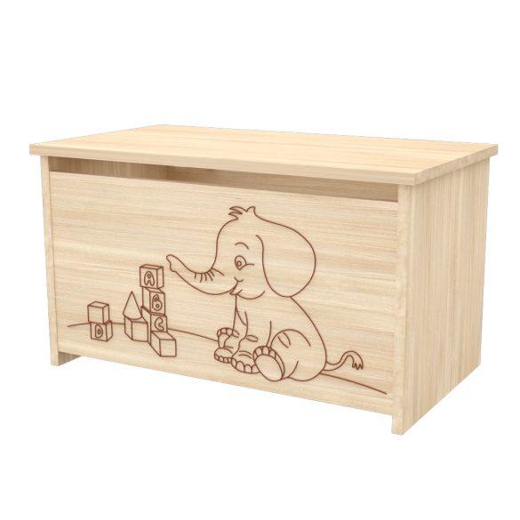 Elefántos játéktároló láda Borostyán