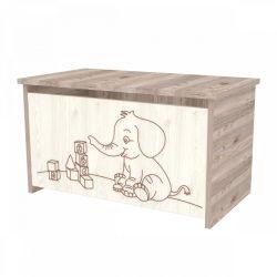 Elefántos játéktároló láda Krém-Fűz